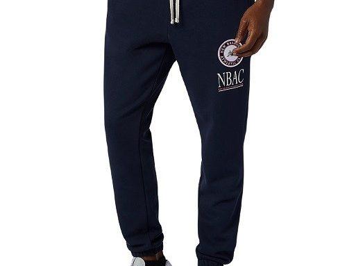 Pantaloni sport EWGFLQ New Balance pentru bărbați, din bumbac, albaștri, cu buzunare cu fermoar