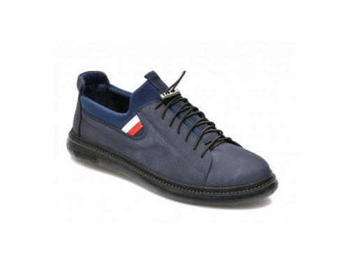 Pantofi Otter casual pentru bărbați, bleumarin, din piele năbuc și cu talpă plată