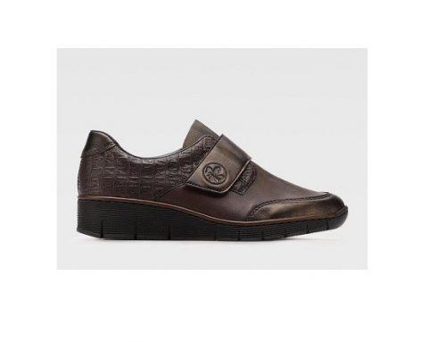 Pantofi casual NHBDSQ Rieker de damă din piele naturală, maro, fără toc și cu talpă joasă