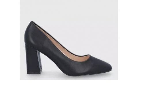 Pantofi office LHEMSQ Answear Lab de damă, negri, cu toc gros și vârf pătrat