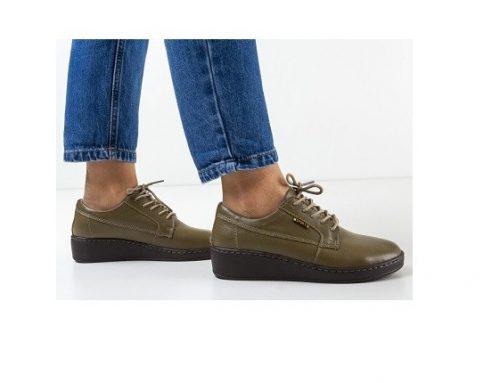Pantofi de damă casual Guiro kaki din piele naturală cu șireturi și talpă plată