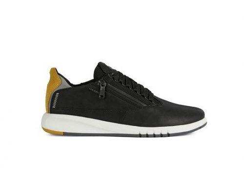 Pantofi casual QLKHBF Geox pentru bărbați din piele naturală, cu talpă plată și fermoar lateral