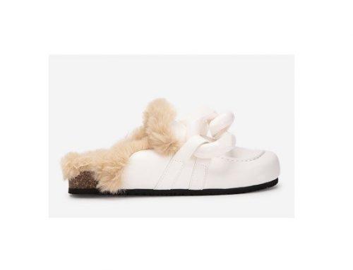 Edith LDGSKQ, papuci de casă de damă albi călduroși cu blană sintetică și talpă plată