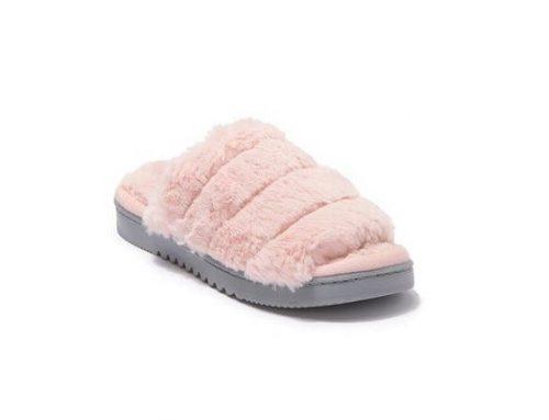Papuci de damă Abound plușați de casă roz cu blană sintetică și talpă plată