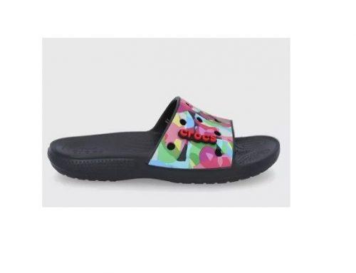 Papuci de damă casual Crocs Bubble Block multicolori cu branț profilat și perforații
