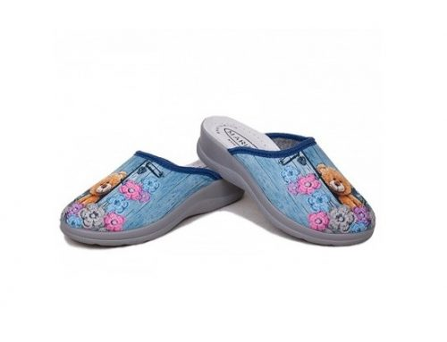 BiaShoes LFHQWD, papuci de damă de casă albaștri cu imprimeu și căptușiți cu piele