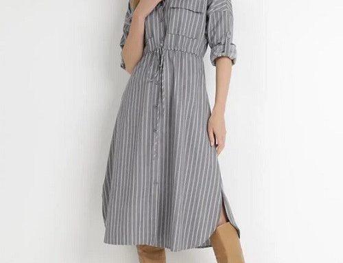 Rochie stil cămașă FSLKBH BornBe lejeră din bumbac, gri, cu buzunare și șnur în talie