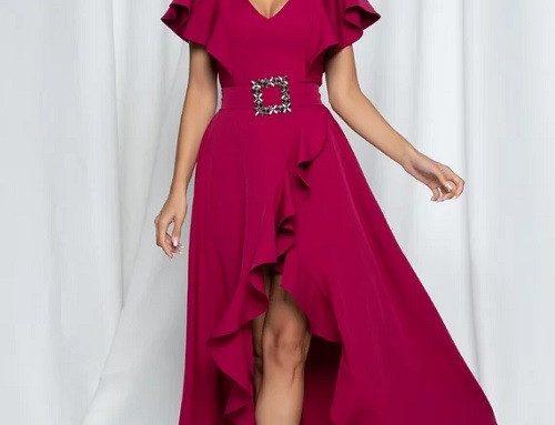 Rochie de ocazie petrecută LaDonna cu mâneci scurte tip fluture, decolteu în V și curea în talie