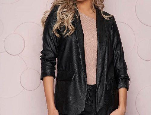 Sacou de damă casual SunShine din piele ecologică negru, drept, cu buzunare decorative