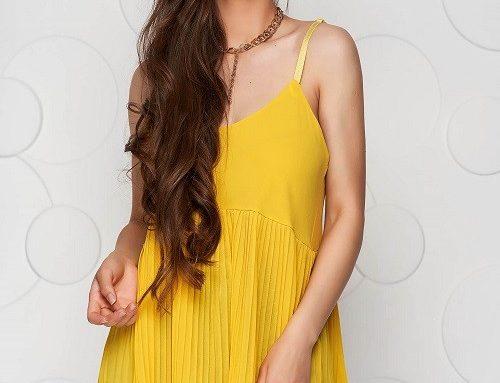 Top de damă KSFWHL SunShine lejer galben din voal plisat și cu bretele subțiri detașabile
