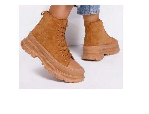 Pantofi sport de damă Evantis înalți și cu platformă, camel, cu talpă aderentă