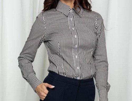 Mbg Collection DFSGLK, cămașă de damă office cambrată cu imprimeu în dungi și guler ascuțit