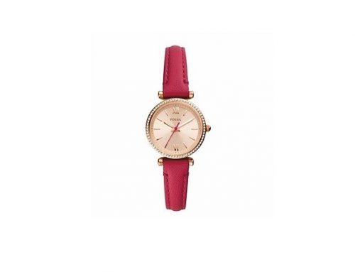 Ceas de damă Fossil Carlie roz cu brățara din piele naturală, Quartz, 5ATM, cadran auriu rose