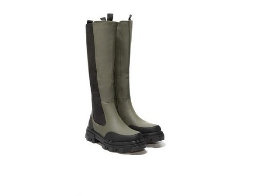 Annissa QKLQDBL, cizme de damă casual impermeabile, verzi, cu talpă anti-derapantă, din piele eclogică