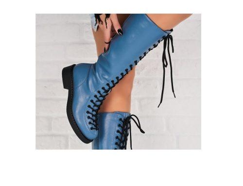 Kacey NFGDF, cizme de damă casual îmblănite, albastre, cu talpă joasă și toc plat