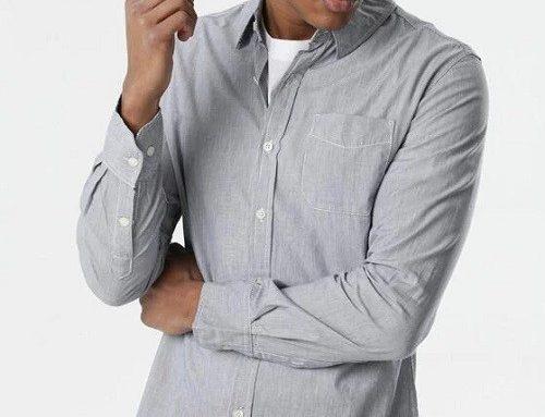 Cămașă BornBe bleumarin pentru bărbați, din bumbac și cu mâneci lungi