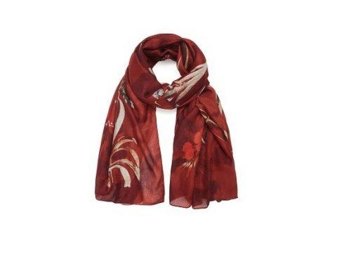 Eșarfă elegantă LTGLSWB Desigual de damă roșie și cu imprimeu floral