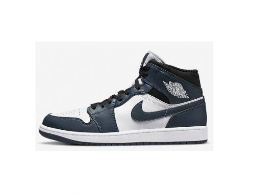 Ghete sport Air Jordan 1 Mid pentru bărbați din piele naturală, albaștri, cu talpă plată