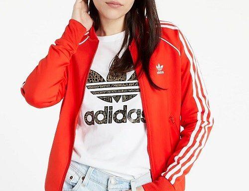 Hanorac sport KDBFLSQ Adidas de damă roșu din bumbac cu fermoar și buzunare