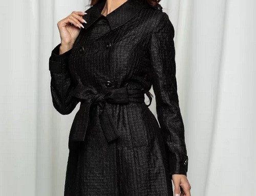 Palton elegant DJFHDK Leonard Collection de damă negru cambrat cu aplicații strălucitoare