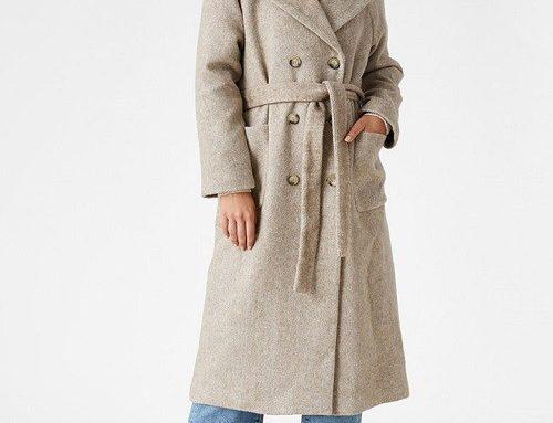 Palton cu lână și bumbac SKQLTK Koton de damă, drept, cu revere decupate și cordon în talie