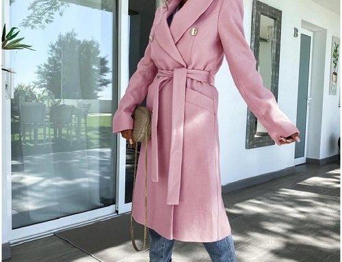 Cosya DKDMHLS, palton de damă roz drept din stofă netedă și cu cordon în talie