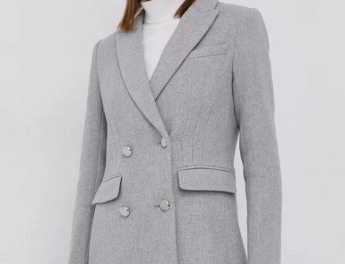 Palton scurt SFBLBF Morgan de damă office din lână netedă, gri, cambrat pe corp