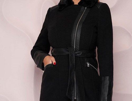 SunShine KGGVDF, palton scurt de damă negru cambrat cu guler cu blană și cordon în talie