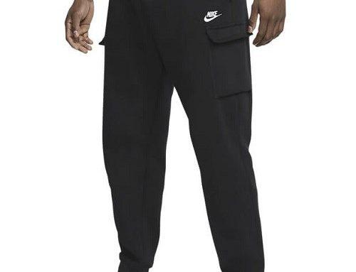 Pantaloni de trening Nike pentru bărbați stil Cargo, negri, din bumbac, cu buzunare pe picior