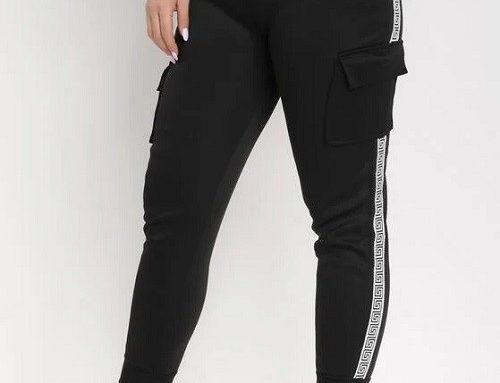 BornBe MKDBFBL, pantaloni de damă sport elastici negri mulați, cu buzunare pe picior