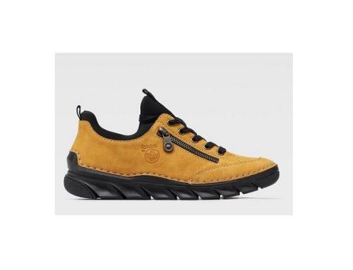 Pantofi de damă Rieker casual galbeni din imitație de piele, fără toc și cu talpă joasă