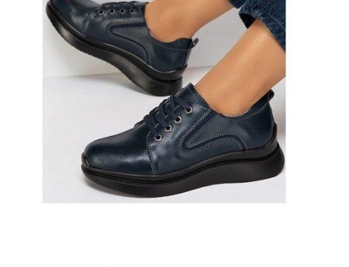 Pantofi Niana de damă casual din piele naturală, navy, cu toc plat și talpă joasă