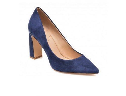 Aldo BSQ2DLM, pantofi de damă eleganți din piele naturală întoarsă, bleumarin, cu vârf ascuțit și toc gros