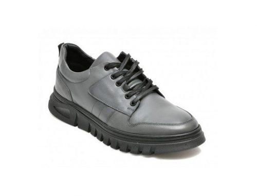 Otter NDKFSGL, pantofi din piele naturală pentru bărbați, gri, cu șireturi și talpă plată