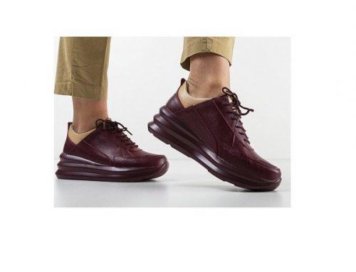 Kelan FDLVHQ, pantofi de damă casual din piele naturală, grena, cu șiret și talpă plată