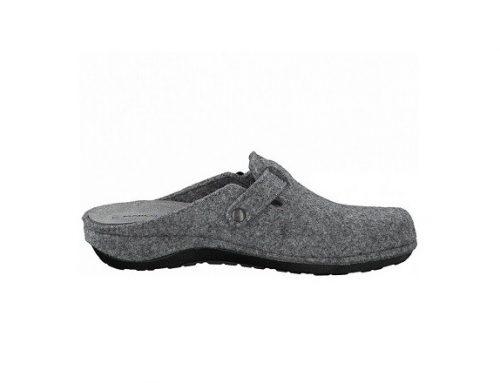 Marco Tozzi MDFMJH, papuci de casă de damă gri din material textil, cu talpă plată și cataramă