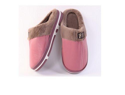 Zira SDGBLQL, papuci de casă pentru femei îmblăniți, roz, din piele ecologică și cu talpă plată