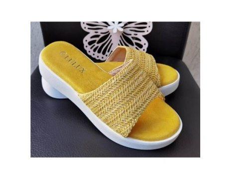 Papuci de damă confortabili Alma din piele ecologică, galbeni, cu talpă plată și împletitură