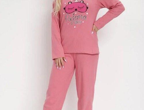 Pijama roz DLSHGT BornBe lejeră de damă din bumbac moale, cu bluză cu mânecă lungă