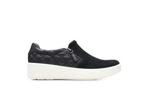 Pantofi casual DLZMKT Clarks de damă din piele naturală, negri, cu fermoar și talpă plată