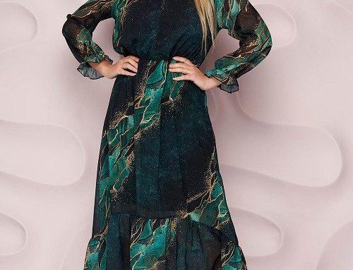 Rochie elegantă StarShinerS verde din voal cu imprimeu grafic, volănașe și elastic în talie