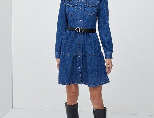 Rochie de blugi LVFBGQ Motivi scurtă și cambrată, albastru închis, cu volane și buzunare