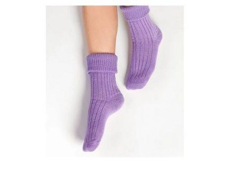 Șosete de damă din lână Steven de casă clasice groase violet lungi